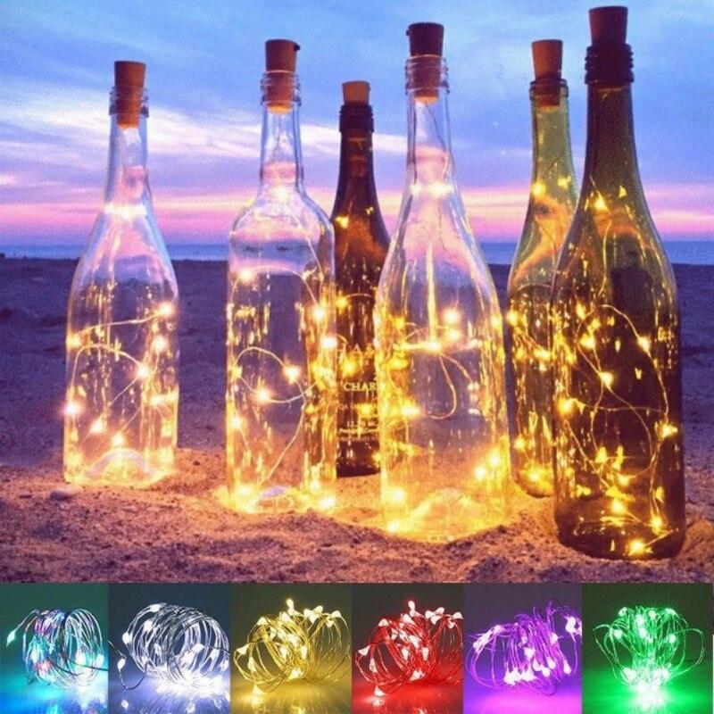 Christmas Party Decor Ornament LED Light String For Wine Stopper Xmas Halloween Party Dinner Solar Energy Light  For Home Bar