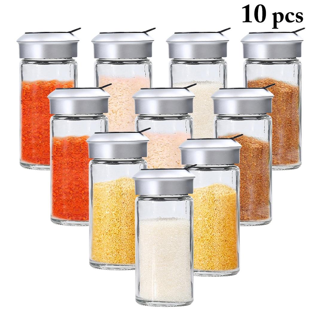 10pcs Transparent Glass Kitchen Gadgets Spice Pepper Shaker Spice Jar Rotating Cover Seasoning Can Salt Sugar Bottle