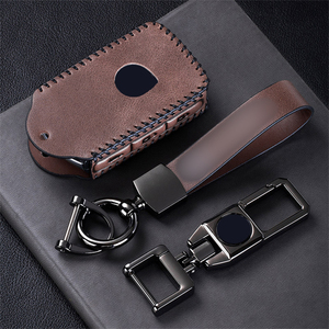 Image 1 - Top Layer Leather Car Remote Key Case Cover For Volvo XC40 XC60 S90 XC90 V90 2017 2018 T5 T6 2015 2016 T8 Keychain Car Styling