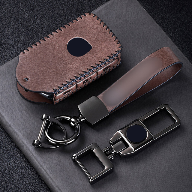 Top Layer Leather Car Remote Key Case Cover For Volvo XC40 XC60 S90 XC90 V90 2017 2018 T5 T6 2015 2016 T8 Keychain Car Styling