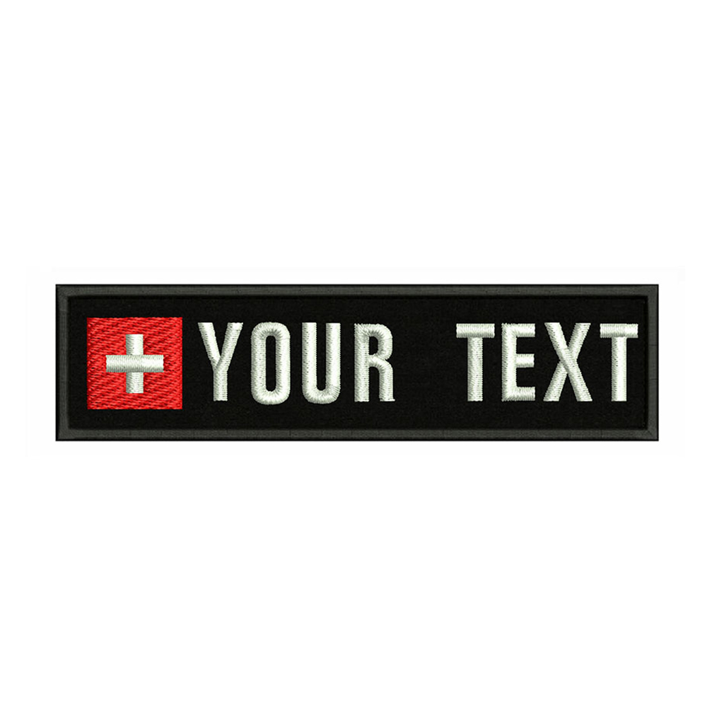 Swiss flag Switzerland 10X2.5cm Embroidery Custom Name Text Patch Stripes badge Iron On Or Velcro Backing Patches For Clothes(China)