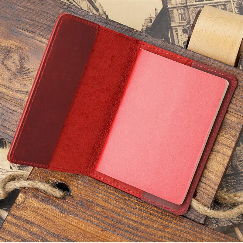 Whosale Genuine Leather Passport Cover Vacancy Blank Funda Pasaporte Business Unisex  Plain passport holder