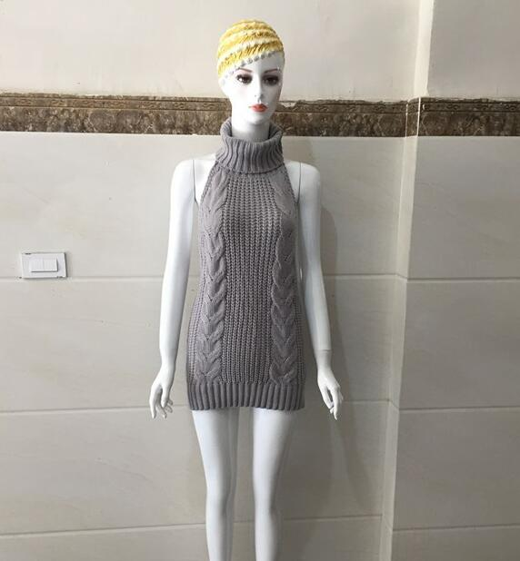2020 Summer New Turtleneck Sleeveless Long Virgin Killer Sweater Japanes Knitted Sexy Backless Women Sweaters And Pullovers 8