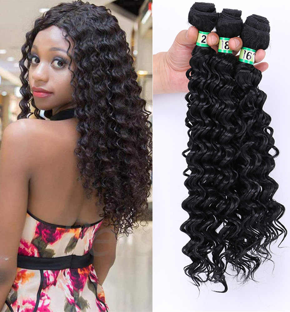 Natifah Deep Curly Wave Bundles Brazilian Hair Water Weave 161820Inch Synthetic Hair Extension Bundles Curly for Black Woman