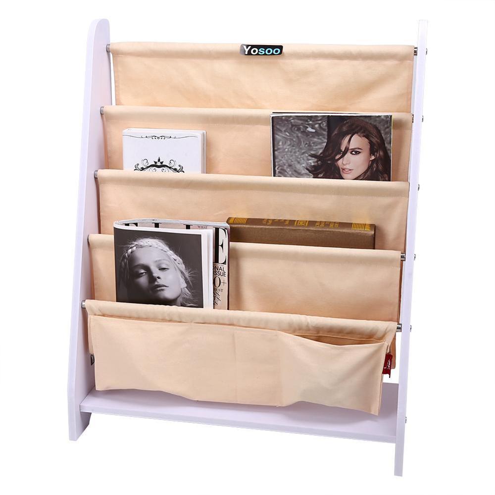Image 3 - 5 Tier Kids Wood Book Shelf Sling Storage Rack Bookcase Display Organizer Holder Children Bookshelf Home Decoration