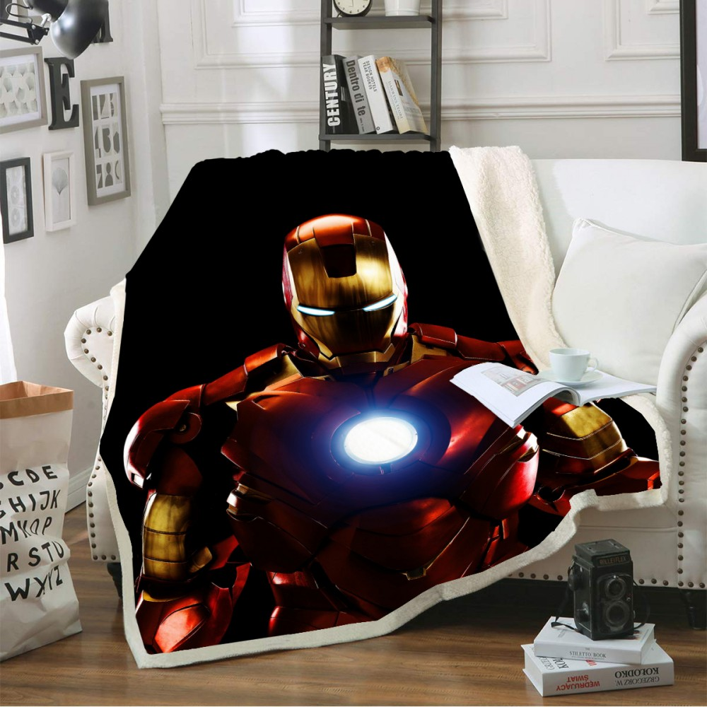 Super Hero Film Iron Man Throw Blanket Sherpa Coral Fleece Blanket Boys Kids Cartoon Blankets Winter Sofa TV Blanket Bed Decor