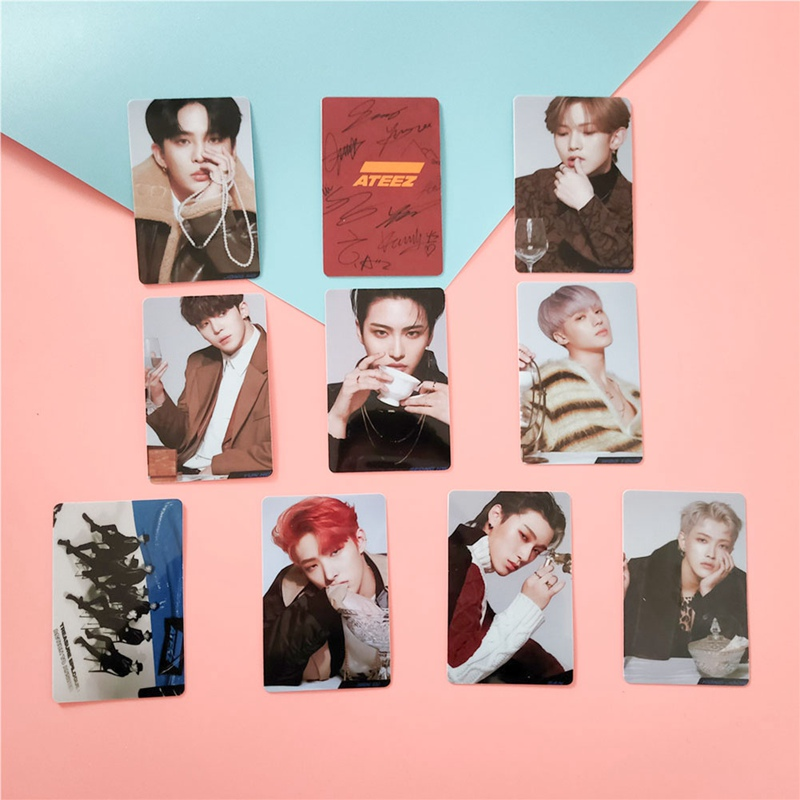 10PCS/Pack Kpop ATEEZ Card Stickers New Album ACTON TO ANSWER Kpop Ateez Photocard Crystal Photo Lomo Card Stickers image