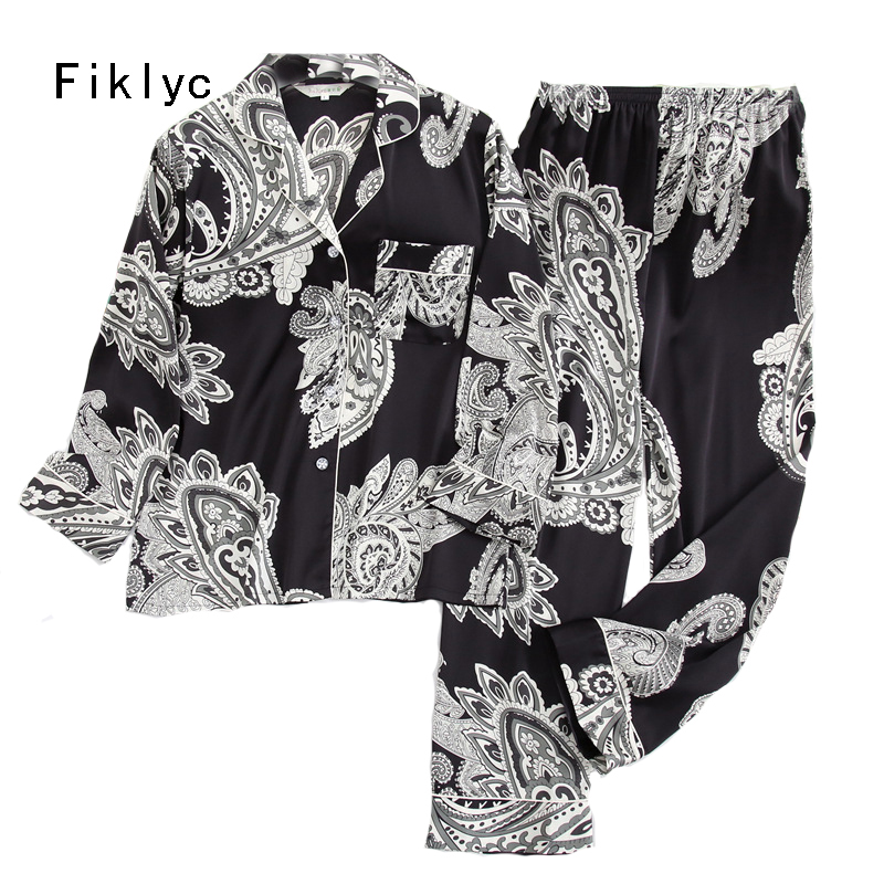 Fiklyc Underwear Women's Spring / Autumn Long Sleeve & Pants Two-pieces Pajamas Sets Faux Silk Pyjamas Homewear Suits Sets NEW