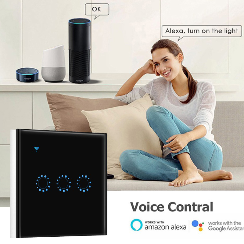 Wifi Touch Switch US 1/2/3 Gang Samrt Switch Panel Wireless Intelligence Timing&Remote Control APP Work With Alexa Google Home