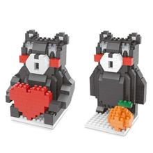 hot LegoINGlys creators Kumamoto Kens mascot Kumamon orange heart black bear mini micro diamond building block model brick toys
