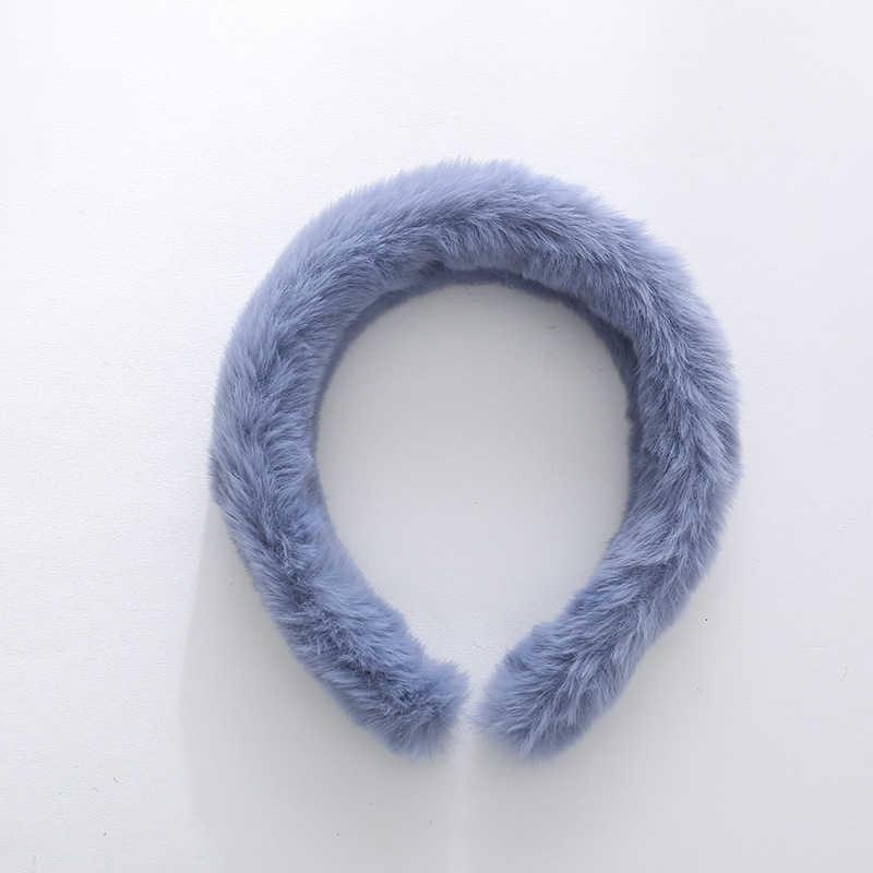 2019 Soft Faux Fur Headband Winter Sweet Solid Color Plush Head Hoop Turban Women Girls Korean Hair Accessories Fashion Headwear