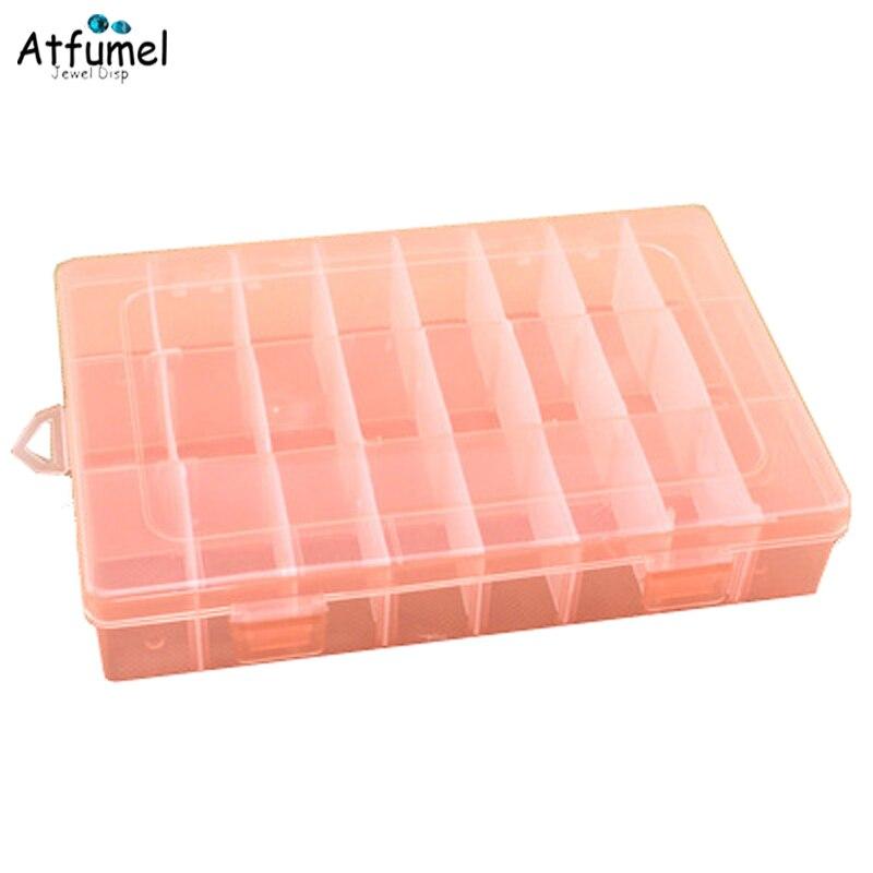 24 Compartments Jewelery Box Plastic Organizer Beads Container Craft Organizer Box Earrings Diamond Box DIY Trinket Gem Box Case