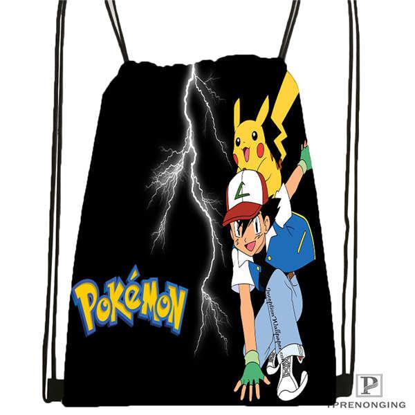 Custom Pokemon_pikachu@02- Drawstring Backpack Bag Cute Daypack Kids Satchel (Black Back) 31x40cm#180611-01-43