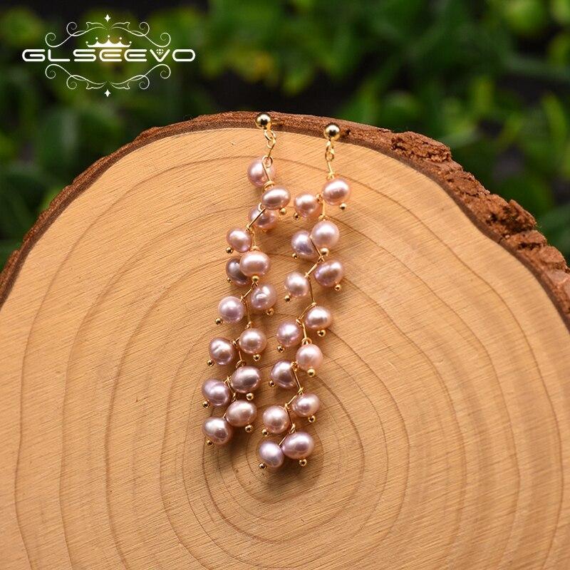 GLSEEVO Natural Purple Pearl Drop Tassel Earring For Women Lovers Engagement Girl Original Design Trendy Fashion Jewelry GE0908A