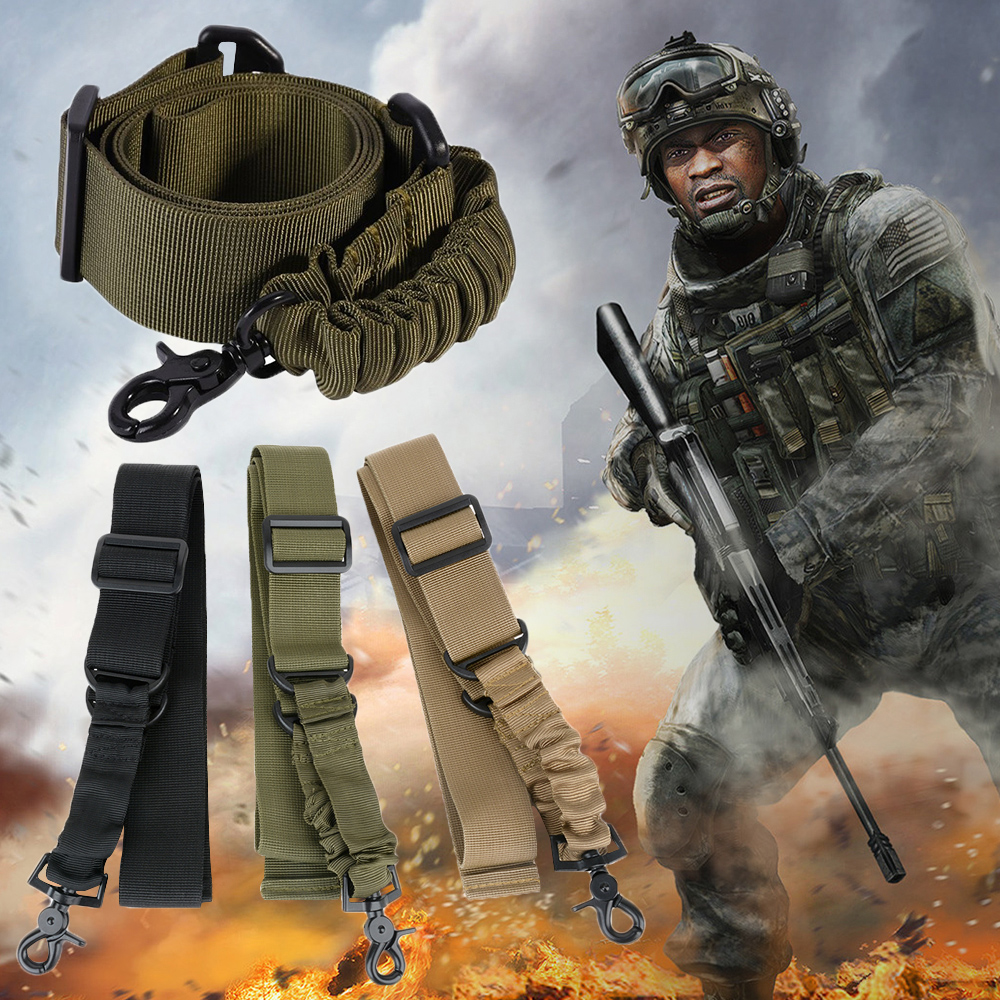 New Nylon Adjustable Multi function Tactical single point Bungee Airsoft Sling Strap Hunting Supplies D40