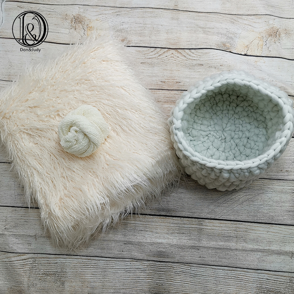 Don&Judy White 3pcs/set 150x100cm Faux Fur+Basket Nest+Wrap Photography Photo Prop Newborn Background Backdrop Photo Prop