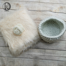 Don&Judy White 3pcs/set 150x100cm Faux Fur+Basket Nest+Wrap Photography Photo Prop Newborn Background Backdrop Photo Prop