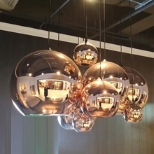 Зеркальный стеклянный шар, подвесной светильник из меди, золота, серебра, лофта, кухонный остров, обеденный стол, стеклянный шар, Подвесная лампа