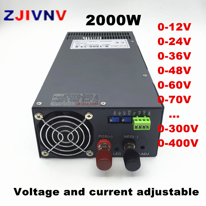 Adjustable 2000W Switching Power Supply 0-12V 15V 24V 27V 36V 48V 60V 72V 110V 220v 300V 400VDC power supply 110/220VAC INPUT image