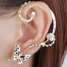Butterfly Earrings Colorful Rhinestone Ear Studs With Punk Rar Hooks Women Fashion Ear Jewelry Gift for Women Gifts(China)