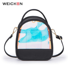 WEICHEN Laser Shine Clear Backpacks Women Multifunction Leather Small Shoulder Bag Ladies Transparent Mochila Backpack Female