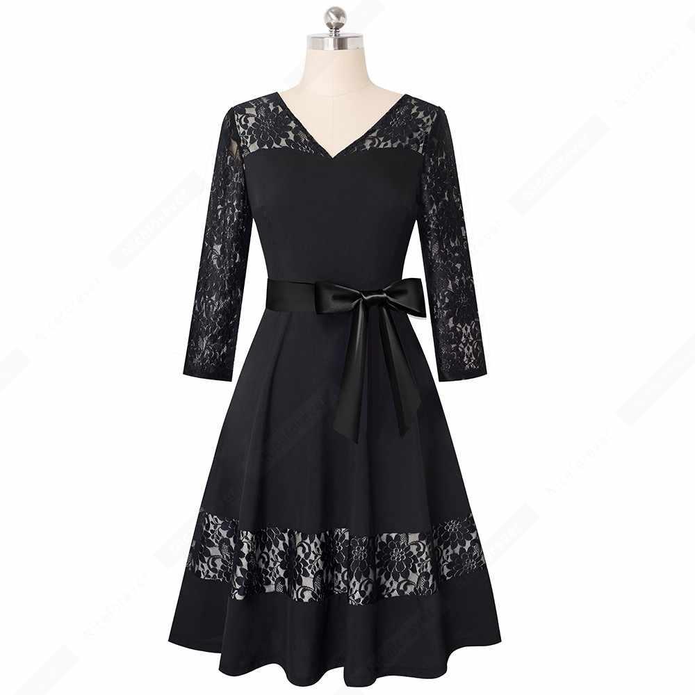 Осеннее сексуальное кружевное Очаровательное платье в стиле ретро; классические элегантные вечерние платья с v-образным вырезом; HA182