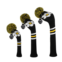 Golf Headcovers,Yellow Daisy Flower Personalized Pattern Knit Golf Club Protector for Driver Fairway Hybrid,Decorate Golf Bags