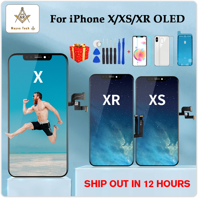 High Quality OLED For iPhone X XS XR Display OLED For iPhone X Display Screen Replacement with True Tone Free Shipping(China)