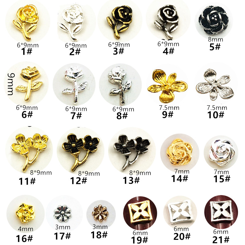 50 шт./упак., японские металлические 3D украшения для ногтей, кавайные детали для ногтей с цветком розы, аксессуары для ногтей, материалы для но...