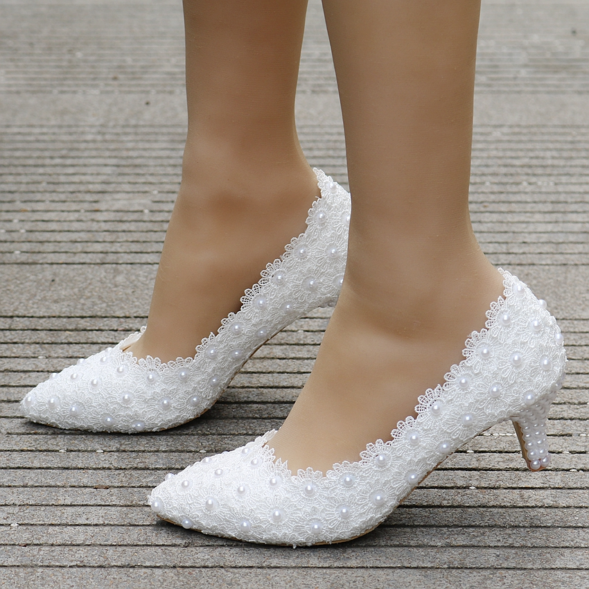 Spring New Crystal Pearl Lady White Lace Wedding Shoes 5CM Heels Sexy Sweet Princess Party Shoes