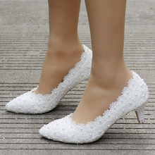 Spring New Crystal Pearl Lady White Lace Wedding Shoes 5CM Heels