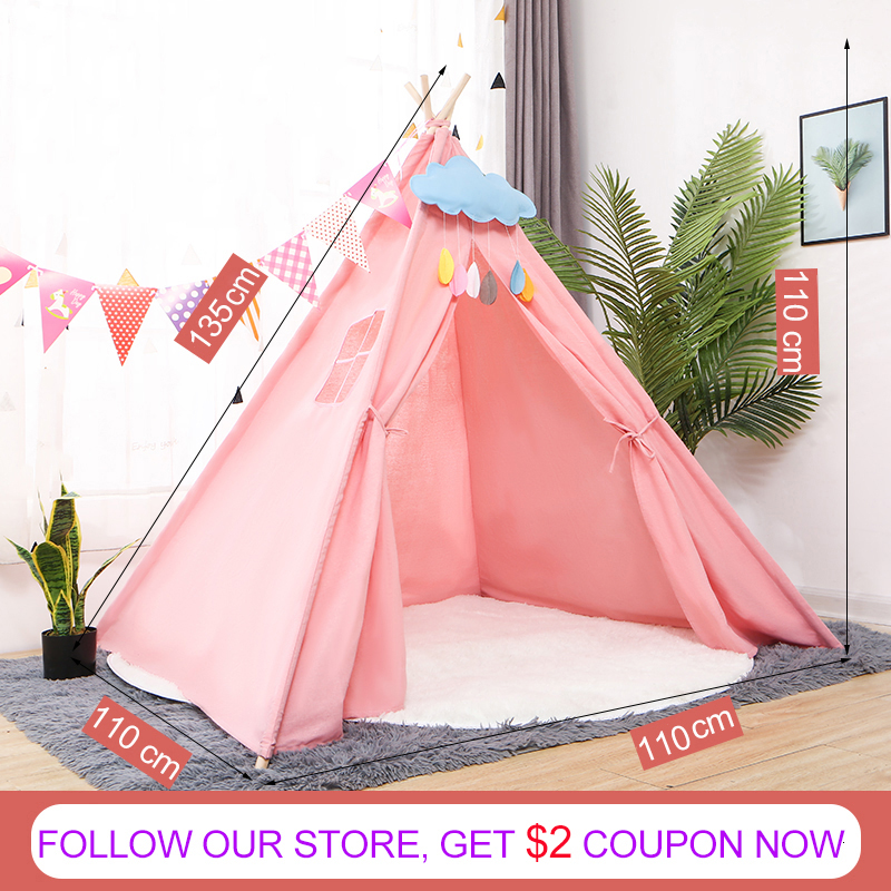 Kids Tent Play Tent Portable Folding Indoor Children's Wigwam Canvas Original Triangle Tipi Game House With Mat Outgoing Toys