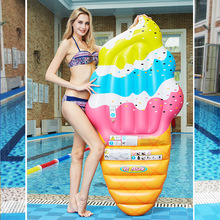 Inflatable Mattress Ice Cream Floating Row Swim Ring Surfing Raft Summer Beach Lounge Pool Party Water Toy Cute Air Float Bed