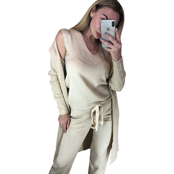 TAOVK Autumn Knitted 3 Pieces Set Women Long Sleeve Cardigan and Sleeveless Pullover Tops and Pants Suits 3