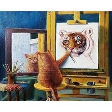 Diy картина по номерам кошка алмазов тигр Раскраска Животные
