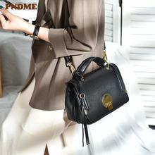 Pndme Повседневная Натуральная Воловья кожа женская сумка винтажная