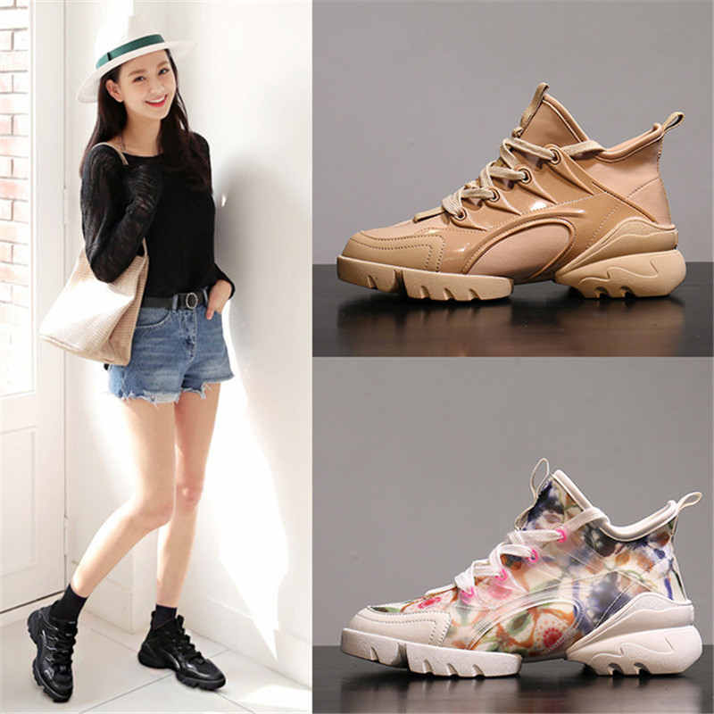 Sneaker Fashion Women Shoes Genuine Leather Casual Round Toe Cross-tied High Casual Student Womans Platform Shoes Spring/Autumn