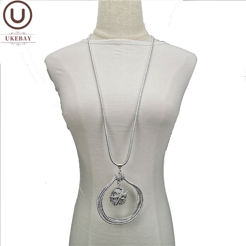 UKEBAY New Alloy Handmade Pendant Necklaces Women Long Chains Body Jewelry Designer Sweater Chain Luxury Necklace Accessories