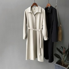 2019 Autumn New A-Line Sashes Long Sleeve Turn-down Collar Thick Chiffon Women's Shirt Dress Waist To Show Thin Solid Dress collect waist to show thin big plaid dress