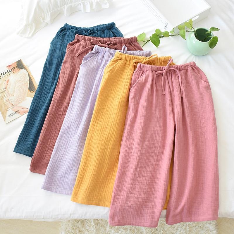Été femmes coton gaze maison pantalon taille élastique tricoté solide mollet longueur pantalon grande taille ample crêpe Pyjama bas de sommeil