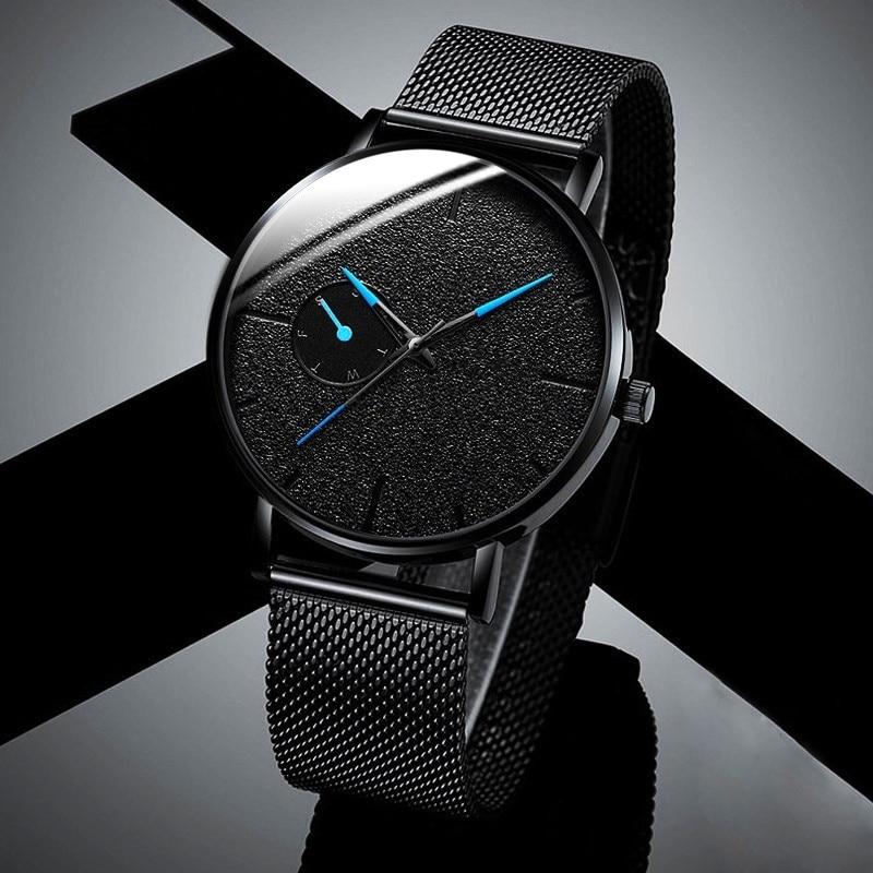 Ultra Thin Men Watches Casual Minimalism Brand Quartz Simple Blue Pointer WristWatch Mesh Strap Business Relogio Masculino