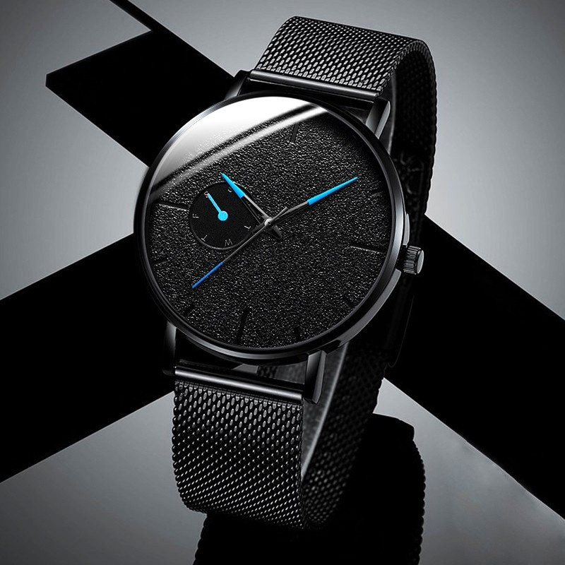 Ultra Thin Men Watches Casual Minimalism Brand Quartz Simple Blue Pointer WristWatch Mesh Strap Business Relogio Masculino