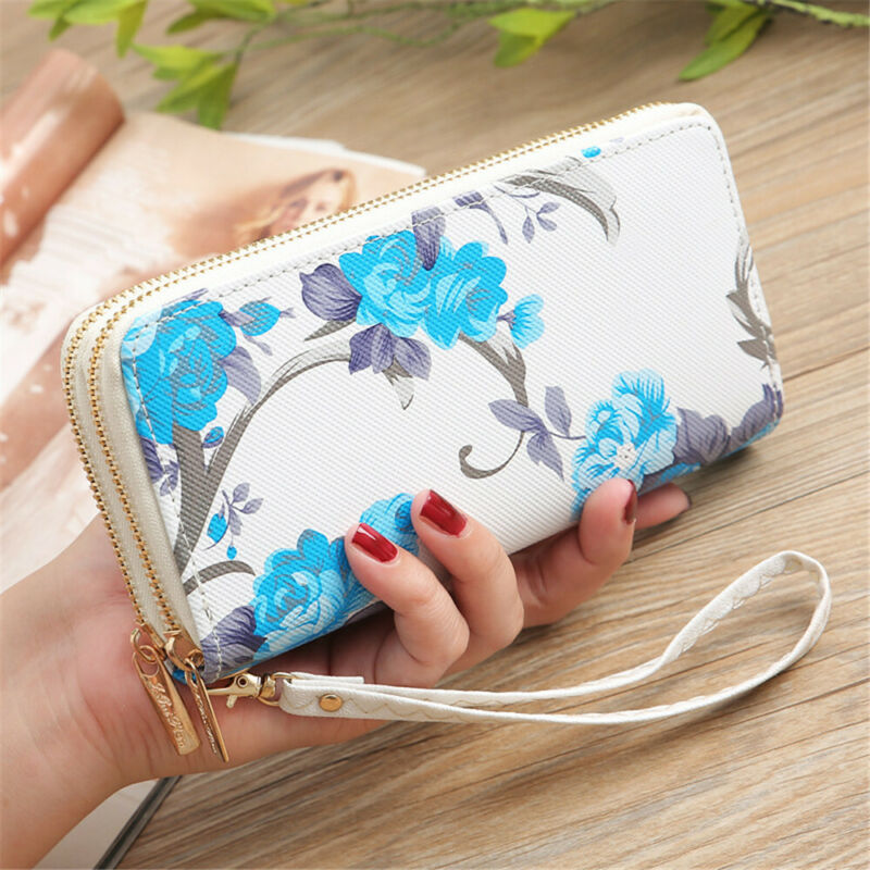 Newly 2020 Fashion Rose Print Double Zipper Ladies Wallet Leather Portable Purse Multifunction Card Holder Clutch Phone Handbag