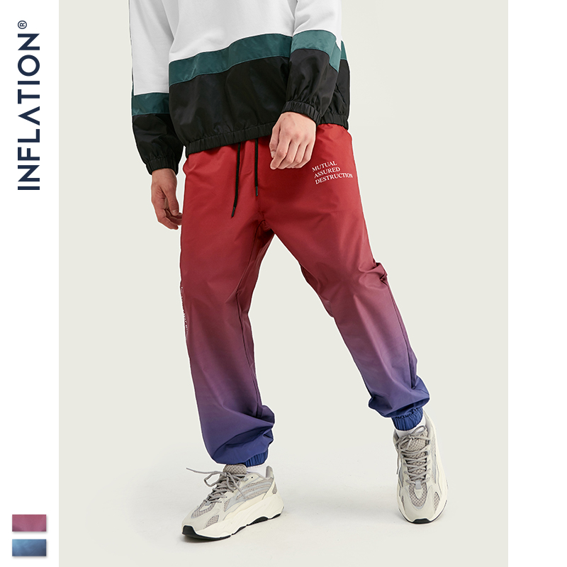 INFLATION 2019 FW Men Die Dye Cargo Pants Loose Fit Men Thin Cargo Pants Elastic Waist Men Streetwear Tie Dye Pants 93420W