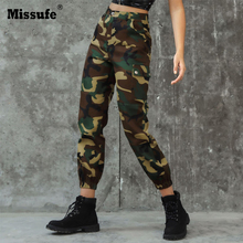 Missufe Boho Camouflage Print Cargo Pants Women High Waist Workout Sporty Trousers 2019 Autumn New Casual Loose Female