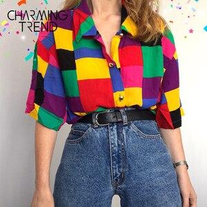 Women's T-Shirts Casual Colorful Geometric Stitching Girls Blouse Tops Summer Female Tee Shirt School Style Women tshirt Top(China)