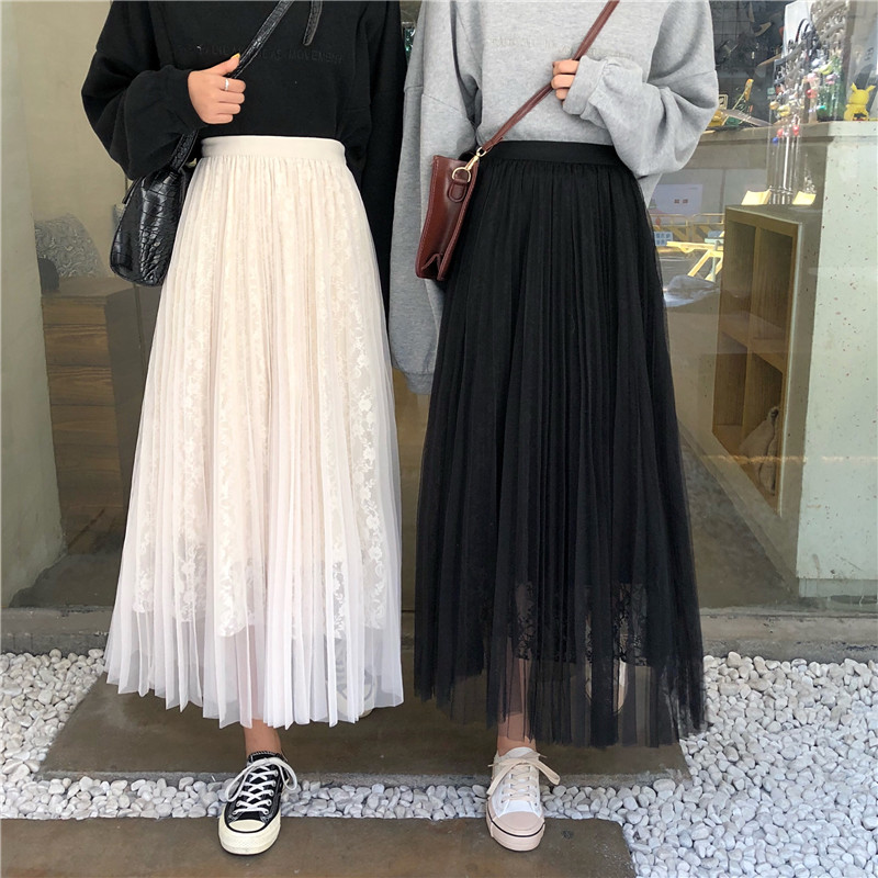 Autumn Spring Princess Tulle Pleated Skirts Solid Color Mesh Lace Women  A-line Female  Skirts