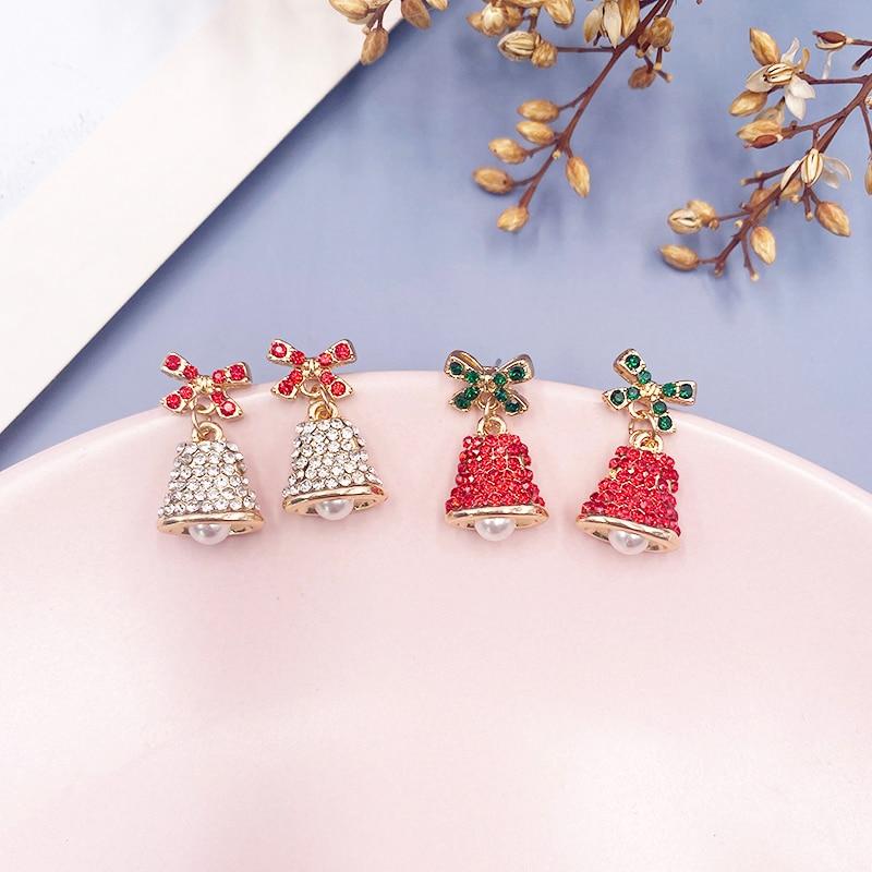 Voll Strass Glocken Ohrringe für Frauen 2020 Weihnachten Rot Weiß Metall Glocke Bowknot Erklärung Baumeln Ohrringe Festival Schmuck