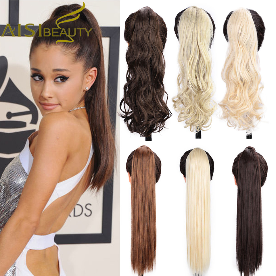 AISI BEAUTY Long Straight Synthetic Ponytail Hair Extensions High Temperature Fiber Black Blonde Brown Hair Extensions For Women