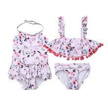 Летний купальник-бикини с цветочным принтом для новорожденных девочек, купальные костюмы танкини, купальный костюм для девочек, купальный костюм, пляжная одежда, От 6 месяцев до 5 лет
